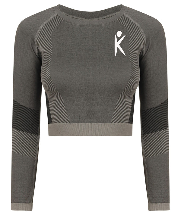 Grey Rikafam Panel Seamless Long Sleeve Crop
