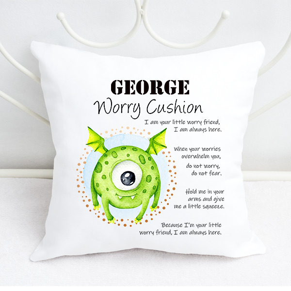 Boys Personalised Cartoon One Eyed Alien Worry Cushion