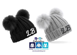 Personalised double pom faux fur hat