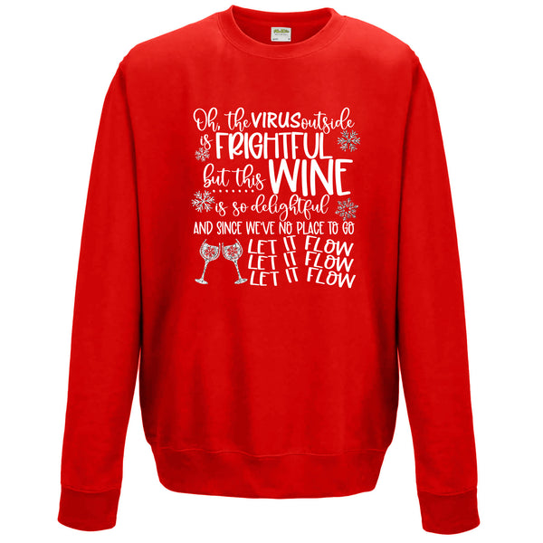 The Virus Outside is Frightful but this Wine is so Delightful - Christmas Jumper