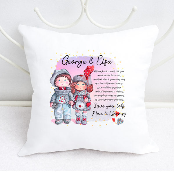 We miss you personalised cushion from grandparents