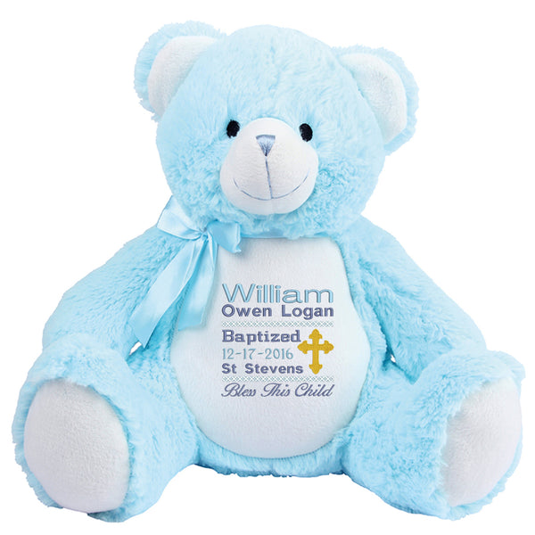 Gorgeous Personalised Teddy - Christening / Baptism - boy
