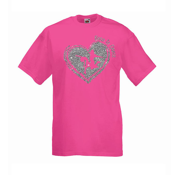 Born to Dance Glitter Heart Personalised Tshirt