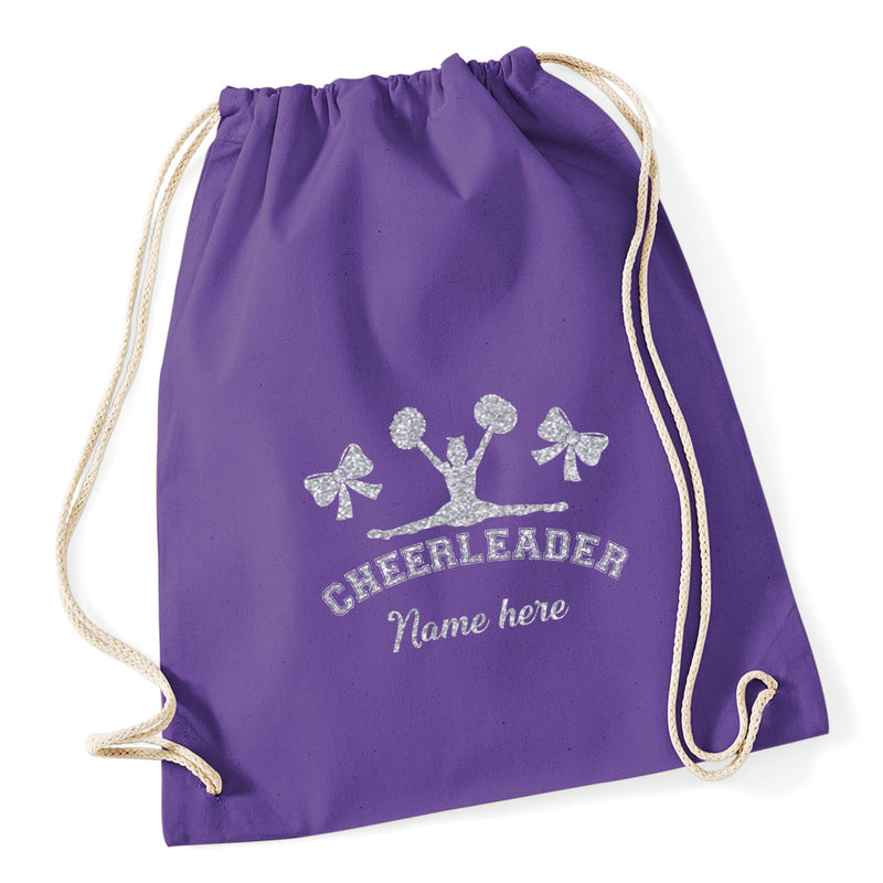 Silhouette Cheerleading Drawstring Bag