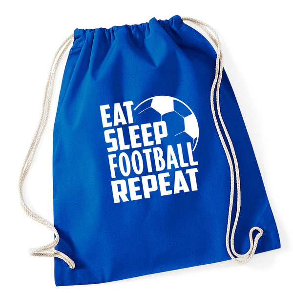 Eat Sleep Football Repeat Drawstring Bag