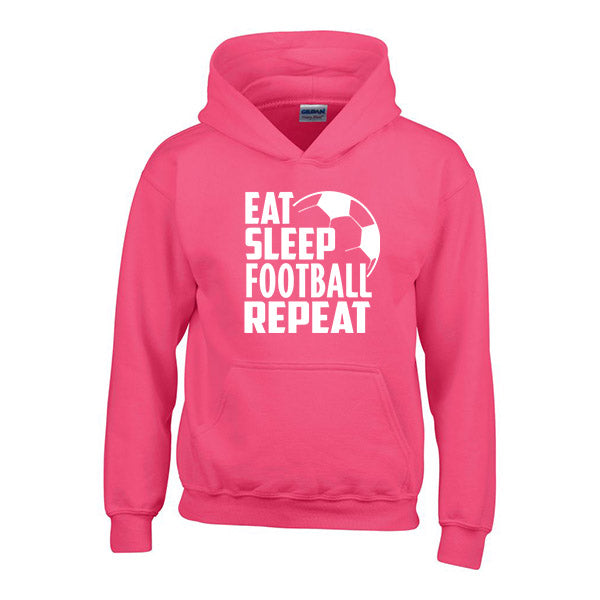 Eat Sleep Football Repeat Childrens Personalised Hoody
