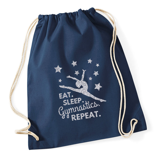 Eat Sleep Gymnastics Repeat Drawstring Bag