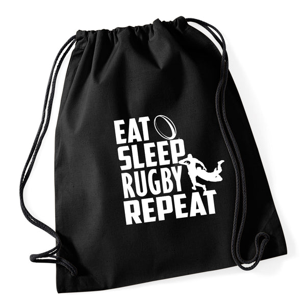 Eat Sleep Rugby Repeat Drawstring Bag