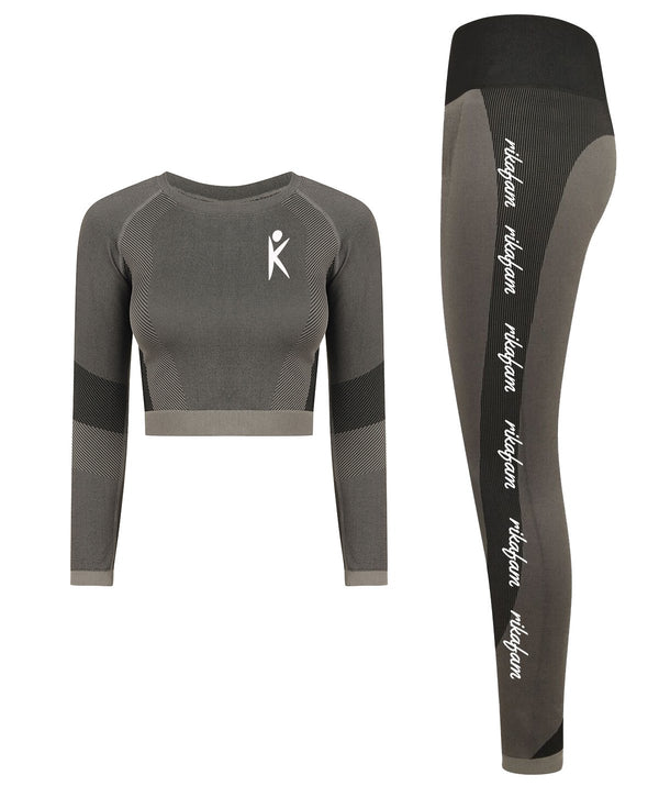 Grey Rikafam Seamless Panel Long Sleeve Crop & Leggings