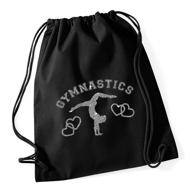 Gymnastics Hearts Drawstring Bag