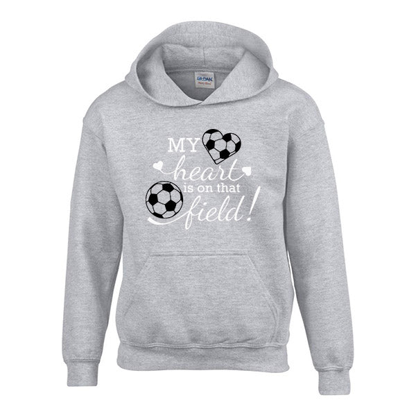 My Heart is on that field - Childrens Personalised football hoody