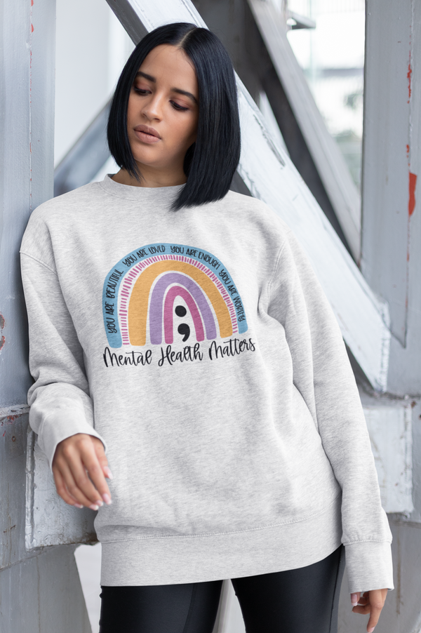 Mental Health Matters Rainbow sweater
