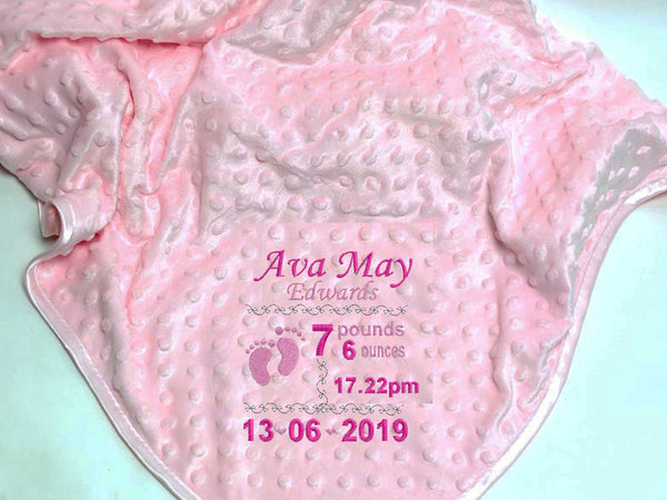 Personalised Baby Blanket – Birth Details – Girl