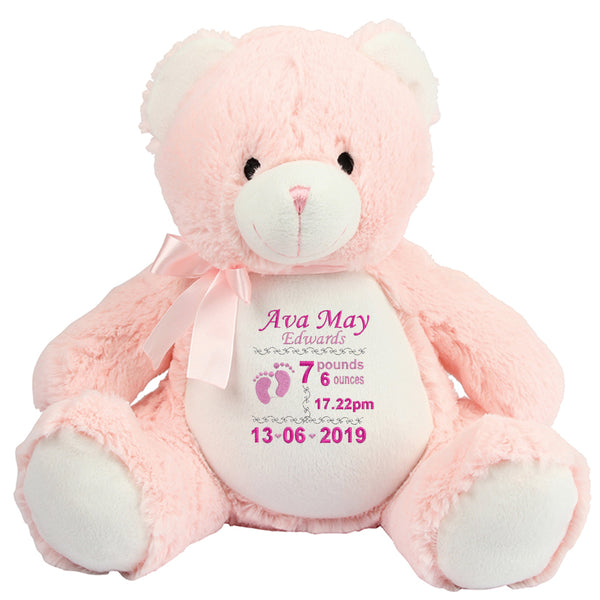Gorgeous Personalised Pink Teddy – Birth announcement – girl