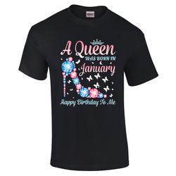 A Queen was born in January Blue & Pink heel Tshirt