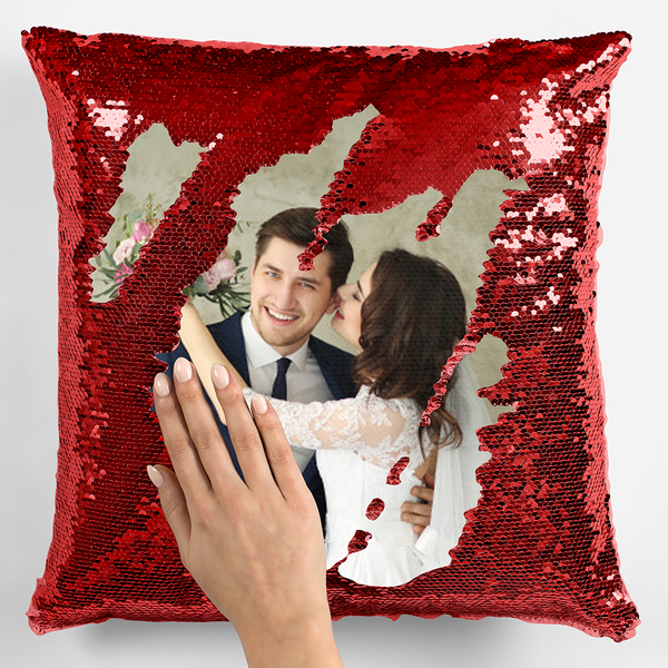 Photo Upload Sequin Cushion