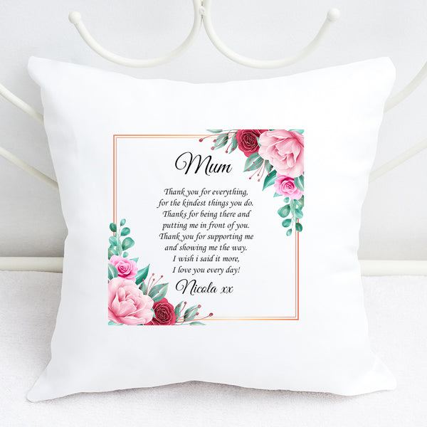 "Mum - ""Thank you for everything"" Personalised cushion"