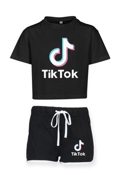 Girl Tik Tok Cropped Tshirt and shorts set