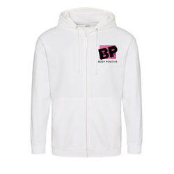 Zip up Hoodie White - Body Positive