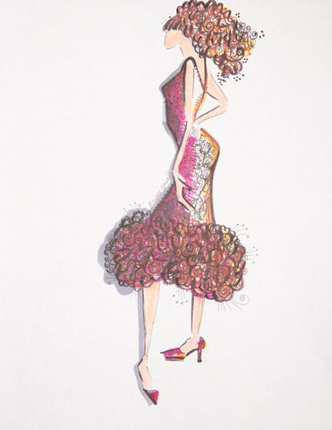 "Fashion Illustration ""Pink Textured Gown"""