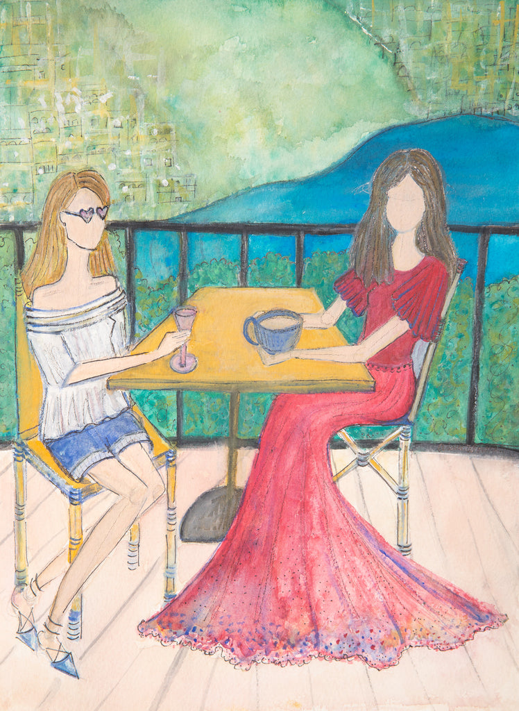 "Watercolor Illustration ""Ladies Who Lunch"""