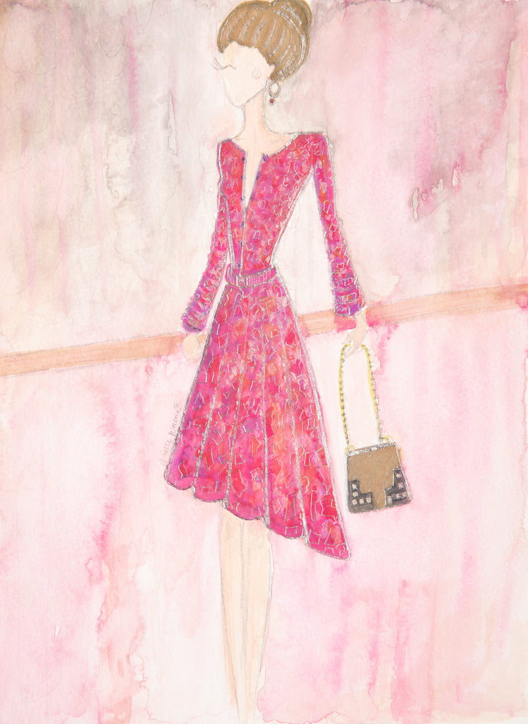 "Watercolor Illustration ""Pink Lady"""