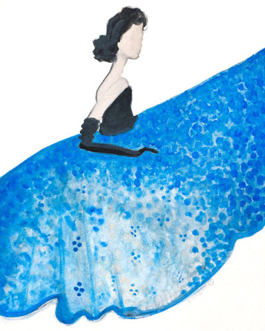 "Watercolor Illustration ""Blue Dior"""