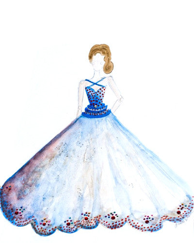 "Fashion illustration ""Watercolor Gown in Blue"""
