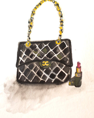 "Watercolor Illustration ""Chanel Bag & Lipstick"""