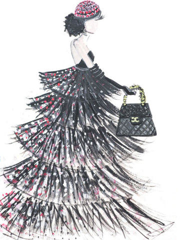 "Watercolor Illustration ""Chanel Couture Gown"""