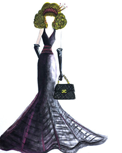 "Watercolor Illustration ""Chanel Evening Gown"""