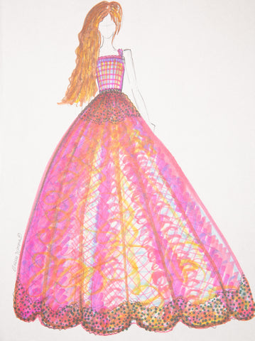 "Fashion Illustration ""Magenta Gown"""