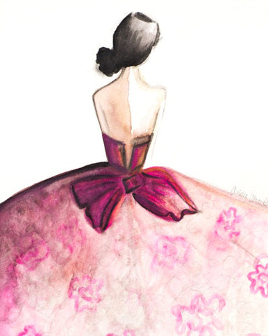 "Watercolor Illustration ""Pink Couture Floral Gown"""