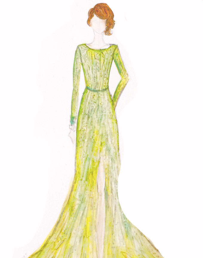 "Watercolor Illustration ""Emma Stone Green Gown"""