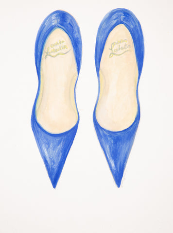"Watercolor Illustration ""Blue Dior Pumps"""