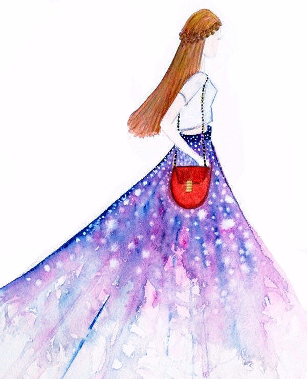 "Watercolor Illustration ""Purple Boho Gown"""