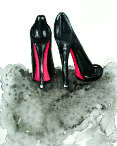 "Watercolor Illustration ""Louboutin Red Bottoms"""
