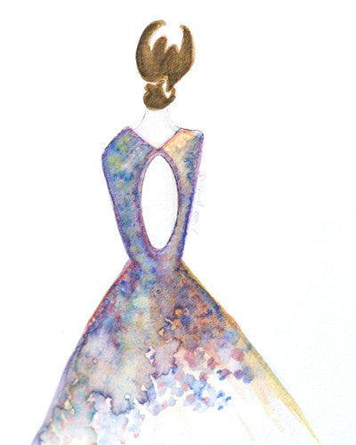 "Watercolor Illustration ""Open Back Gown"""