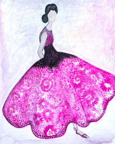 "Watercolor Illustration ""Pink Gown"""