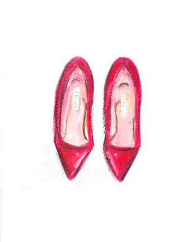 "Watercolor Illustration ""Red Dior Pumps"""