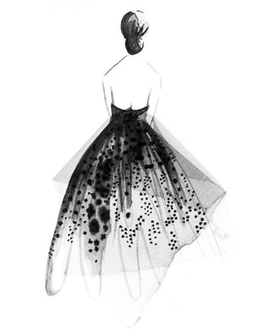 "Watercolor Illustration ""Tulle Gown"""