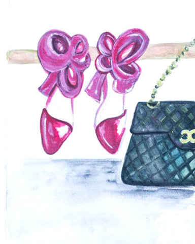 "Watercolor Illustration ""Chanel & Bows"""