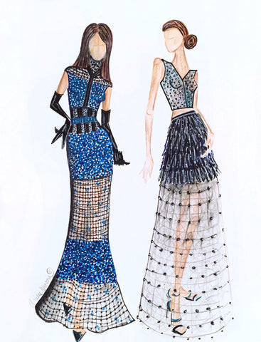 "Fashion Illustration ""Blue Illusion Gowns"""