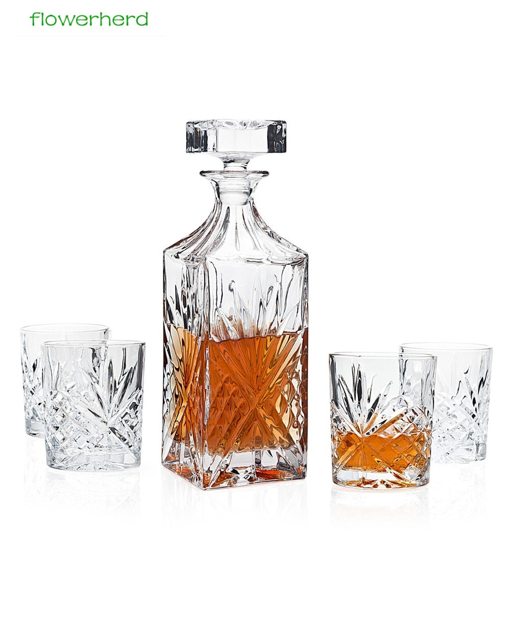 750ml Creative Crystal square Bottle Whiskey Vodka Wine Decanter Bottle Whisky Glass Beer Glass Spirits Cup Water Glass Bar Home