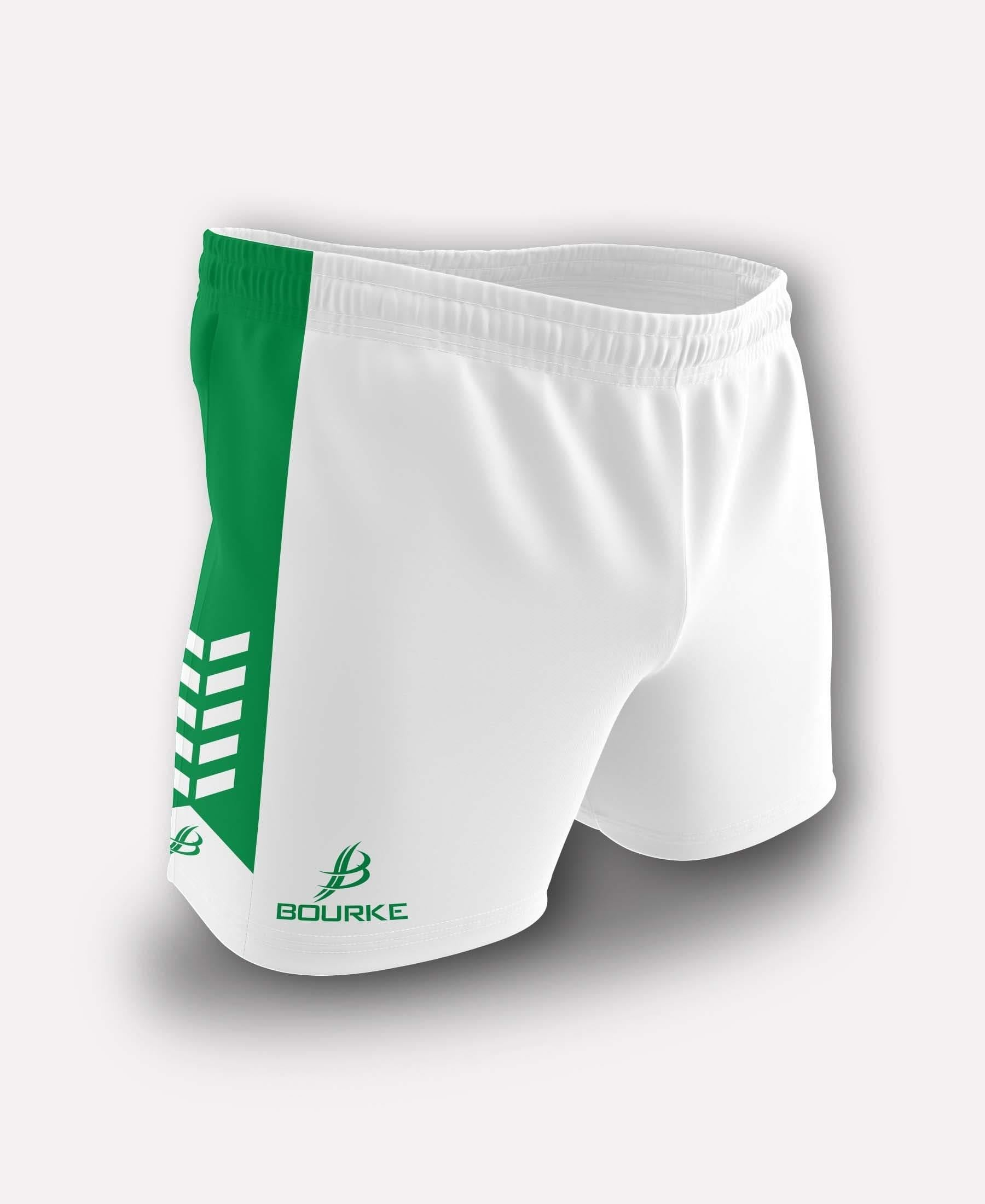 Chevron Kids Shorts (White/Green) - Bourke Sports Limited