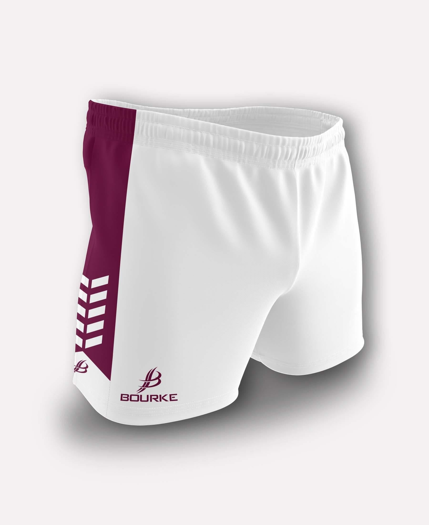 Chevron Kids Shorts (White/Maroon) - Bourke Sports Limited