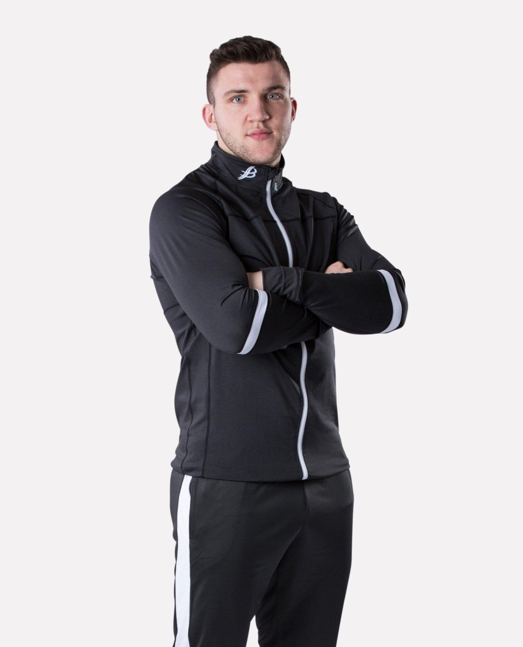 ALPHA Adult Full Zip (Black Fleck/White) - Bourke Sports Limited