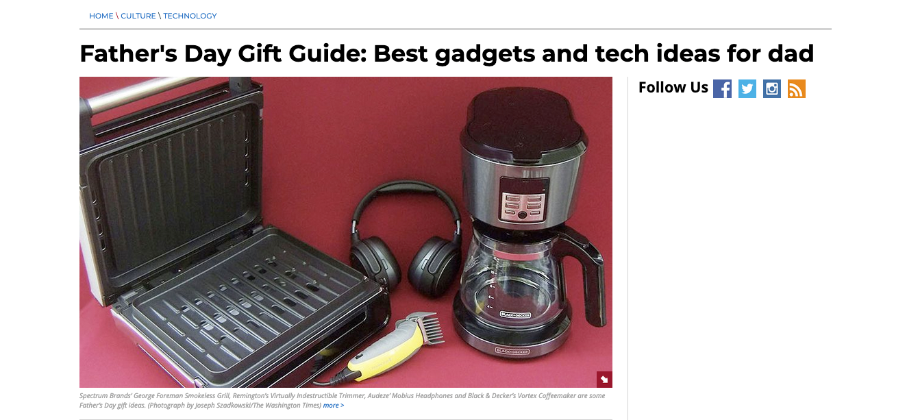 Washington Times Adds Audeze Mobius To Father's Day Gift Guide