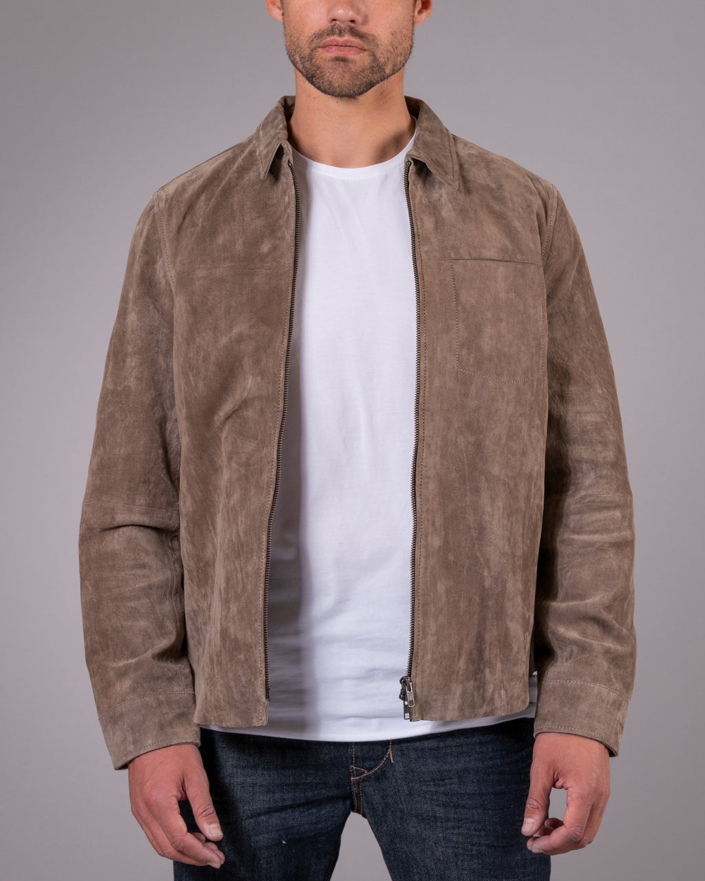 Clark Zipped Suede Shirt Jacket