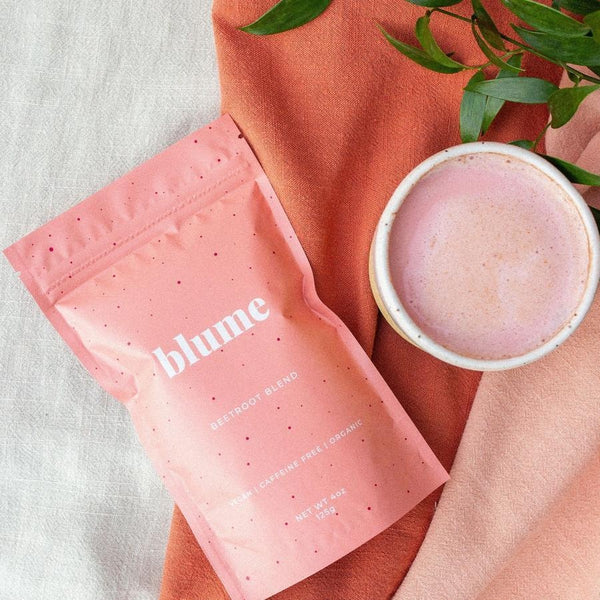 Blume - Beetroot Blend Our pretty pink latte is formulated to boost energy and help you repair naturally. Beets are rich in nitrates to support after-workout recovery and heart health.